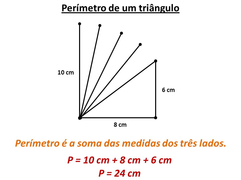 Perímetro de um triângulo Perímetro é a soma das medidas dos três lados. 6 cm 8 cm 10 cm P = 10 cm + 8 cm + 6 cm P = 24 cm