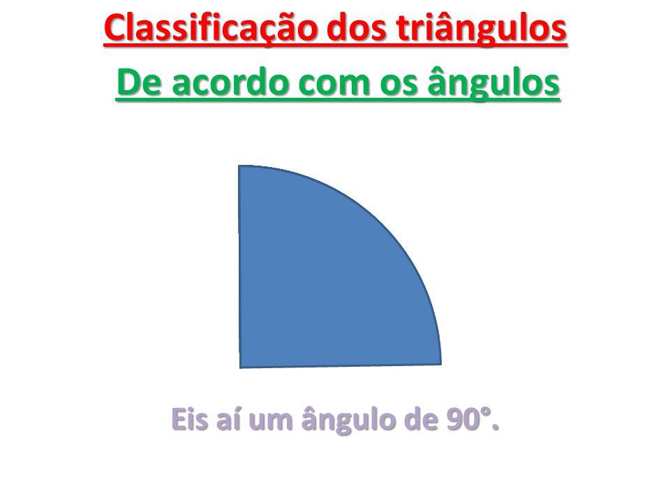 Classificação dos triângulos De acordo com os ângulos Eis aí um ângulo de 90°.