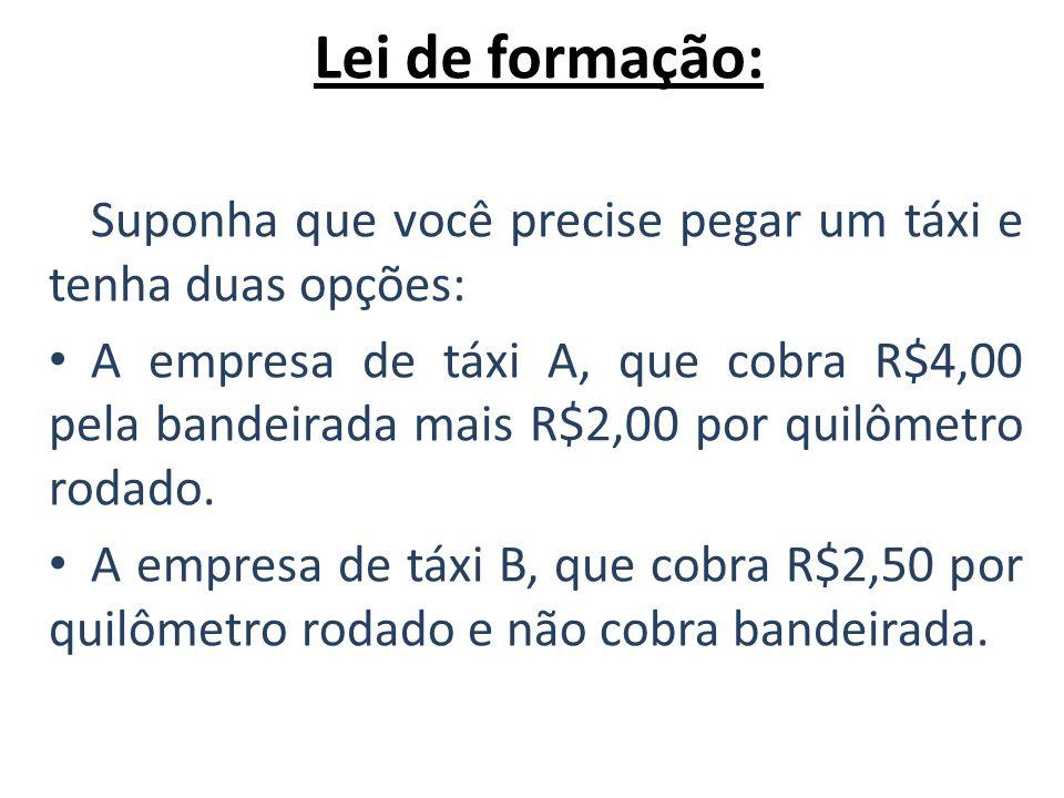 Lei de formação: Suponha que você precise pegar um táxi e tenha duas opções: A empresa de táxi A, que cobra R$4,00 pela bandeirada mais R$2,00 por qui