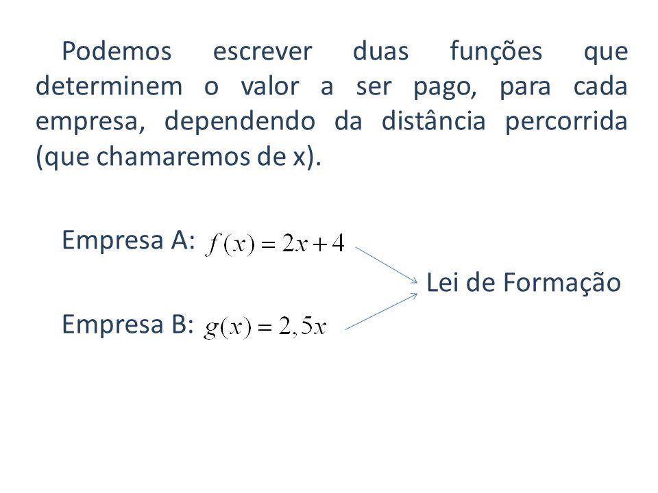 Podemos escrever duas funções que determinem o valor a ser pago, para cada empresa, dependendo da distância percorrida (que chamaremos de x). Empresa
