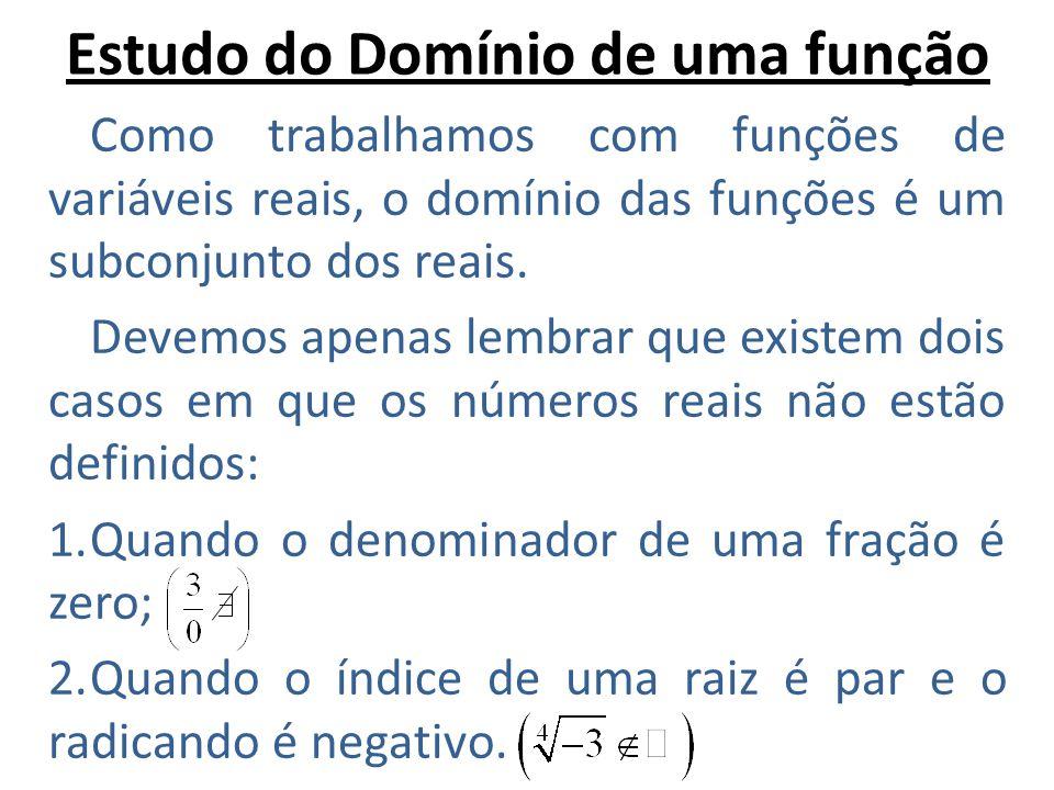 Estudo do Domínio de uma função Como trabalhamos com funções de variáveis reais, o domínio das funções é um subconjunto dos reais. Devemos apenas lemb
