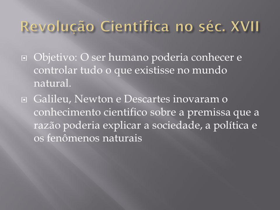 Objetivo: O ser humano poderia conhecer e controlar tudo o que existisse no mundo natural. Galileu, Newton e Descartes inovaram o conhecimento cientif