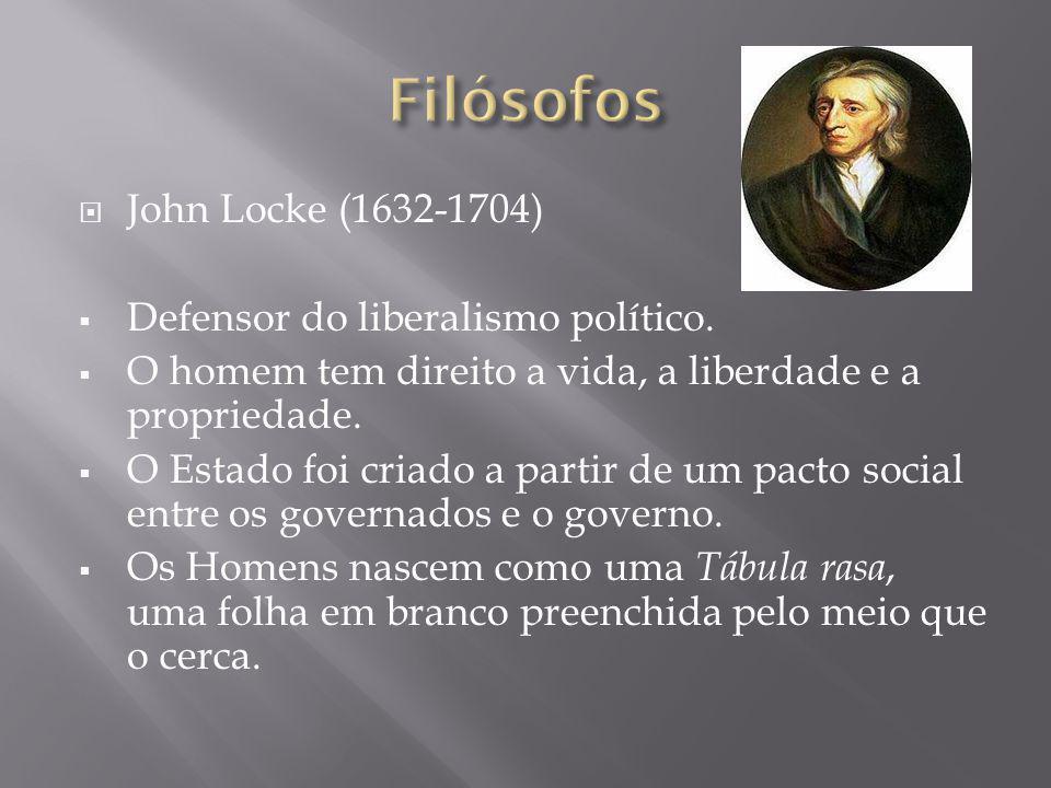 John Locke (1632-1704) Defensor do liberalismo político. O homem tem direito a vida, a liberdade e a propriedade. O Estado foi criado a partir de um p