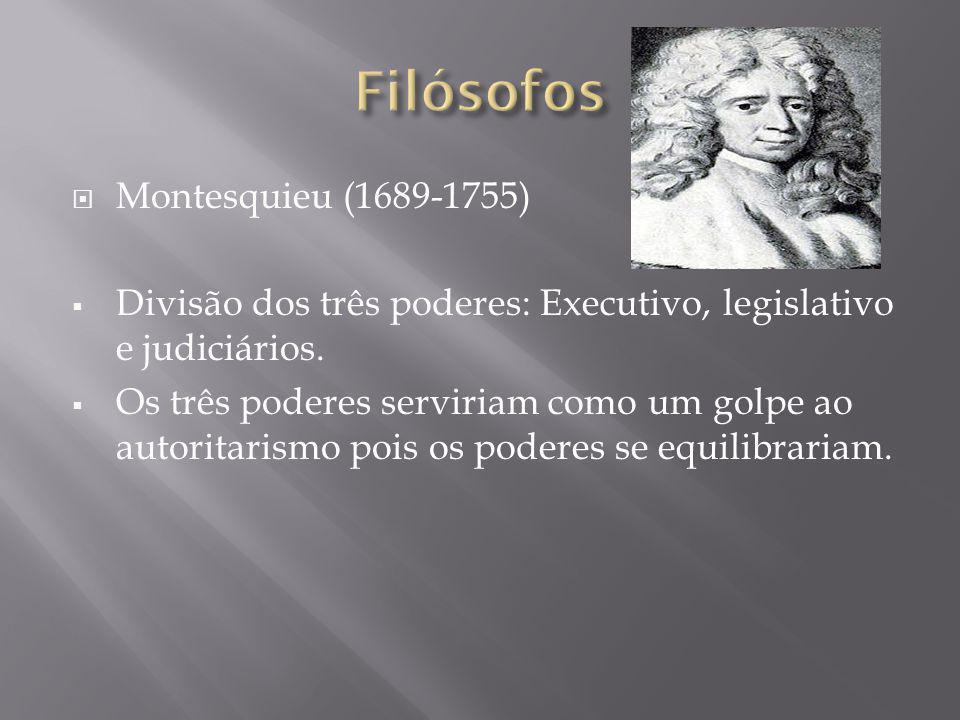 Montesquieu (1689-1755) Divisão dos três poderes: Executivo, legislativo e judiciários. Os três poderes serviriam como um golpe ao autoritarismo pois