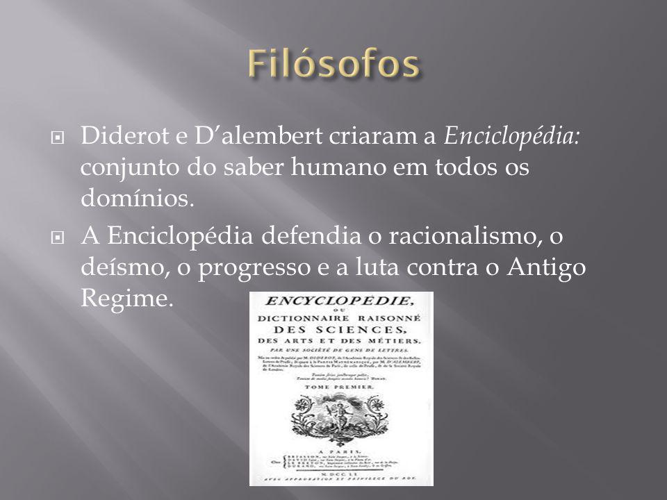 Diderot e Dalembert criaram a Enciclopédia: conjunto do saber humano em todos os domínios. A Enciclopédia defendia o racionalismo, o deísmo, o progres