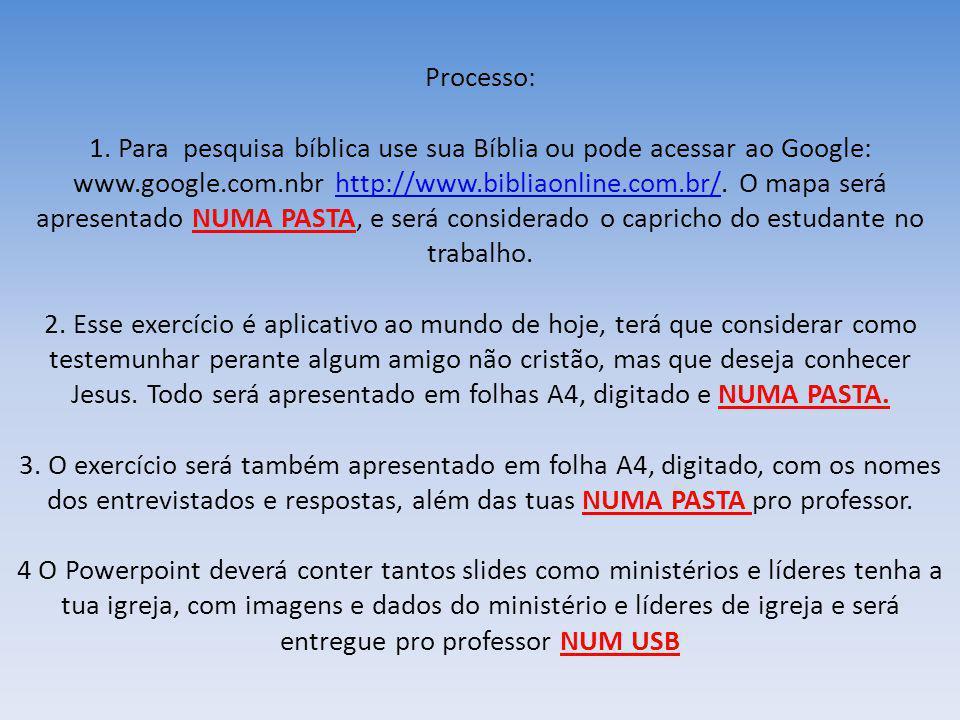 Processo: 1. Para pesquisa bíblica use sua Bíblia ou pode acessar ao Google: www.google.com.nbr http://www.bibliaonline.com.br/. O mapa será apresenta