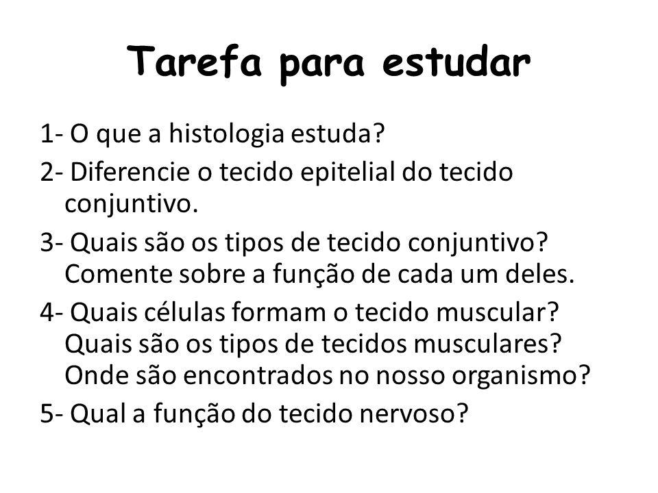 Tarefa para estudar 1- O que a histologia estuda? 2- Diferencie o tecido epitelial do tecido conjuntivo. 3- Quais são os tipos de tecido conjuntivo? C