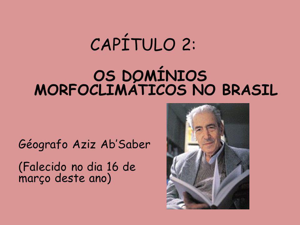 Os domínios morfoclimáticos no Brasil Foram definidos pelo geógrafo Aziz AbSaber a partir das características do clima, do relevo e da vegetação, específicas do território brasileiro.