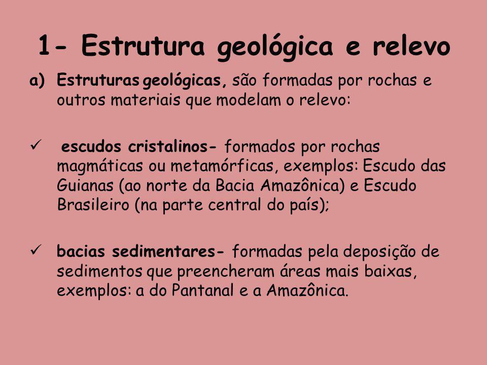 1- Estrutura geológica e relevo a)Estruturas geológicas, são formadas por rochas e outros materiais que modelam o relevo: escudos cristalinos- formados por rochas magmáticas ou metamórficas, exemplos: Escudo das Guianas (ao norte da Bacia Amazônica) e Escudo Brasileiro (na parte central do país); bacias sedimentares- formadas pela deposição de sedimentos que preencheram áreas mais baixas, exemplos: a do Pantanal e a Amazônica.