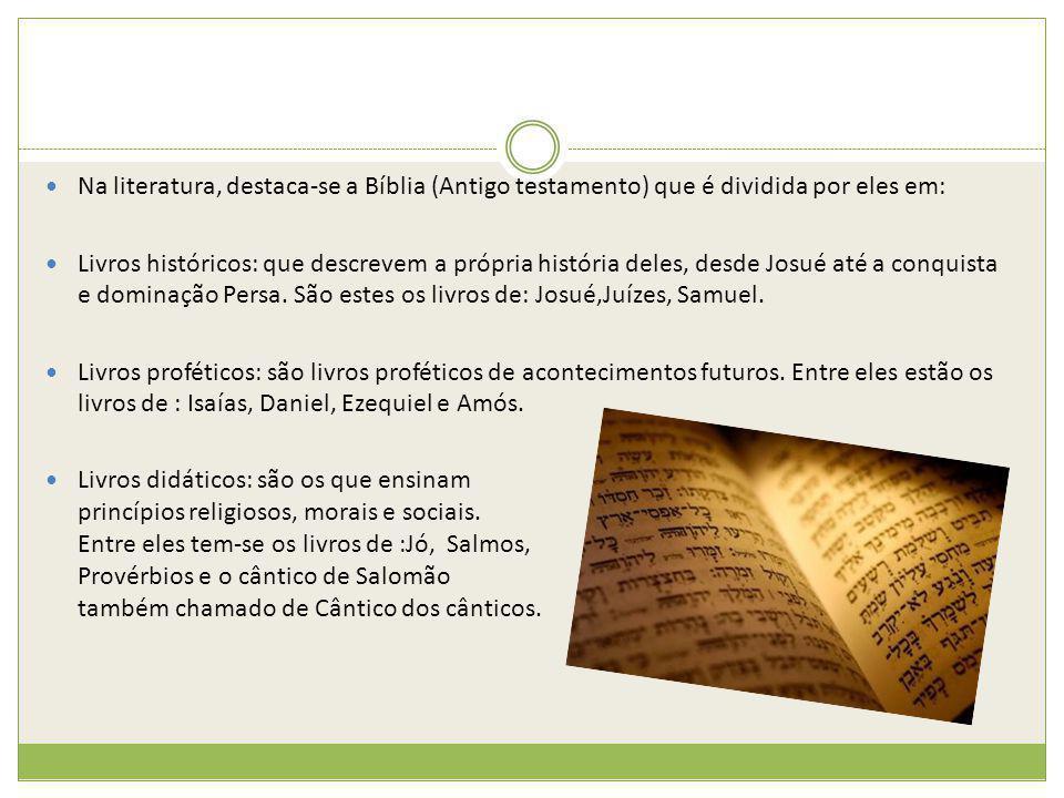 Na literatura, destaca-se a Bíblia (Antigo testamento) que é dividida por eles em: Livros históricos: que descrevem a própria história deles, desde Jo
