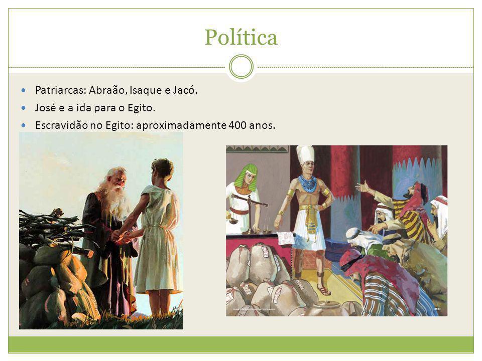 Política Patriarcas: Abraão, Isaque e Jacó. José e a ida para o Egito. Escravidão no Egito: aproximadamente 400 anos.