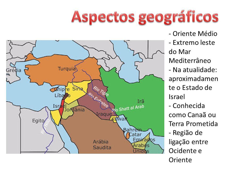- Oriente Médio - Extremo leste do Mar Mediterrâneo - Na atualidade: aproximadamen te o Estado de Israel - Conhecida como Canaã ou Terra Prometida - Região de ligação entre Ocidente e Oriente