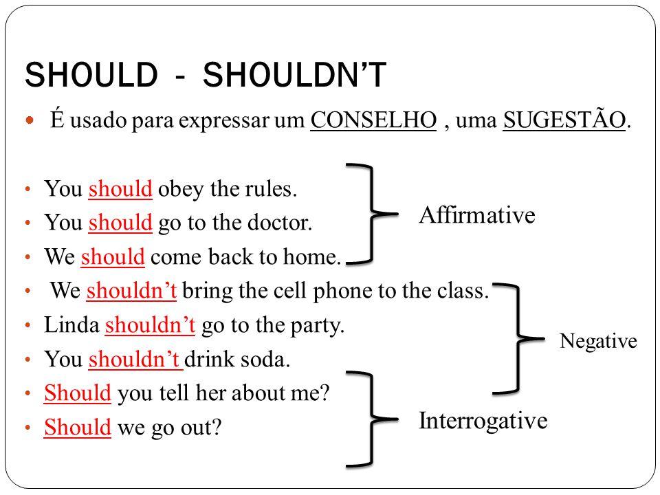 É usado para expressar um CONSELHO, uma SUGESTÃO.You should obey the rules.