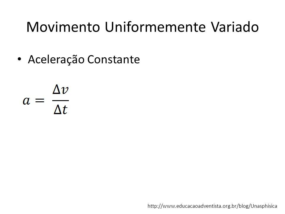 Movimento Uniformemente Variado Aceleração Constante http://www.educacaoadventista.org.br/blog/Unasphisica