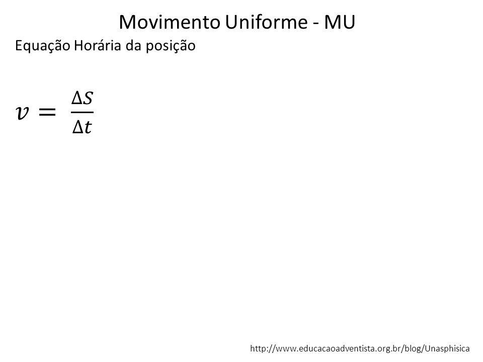 Movimento Uniforme - MU http://www.educacaoadventista.org.br/blog/Unasphisica