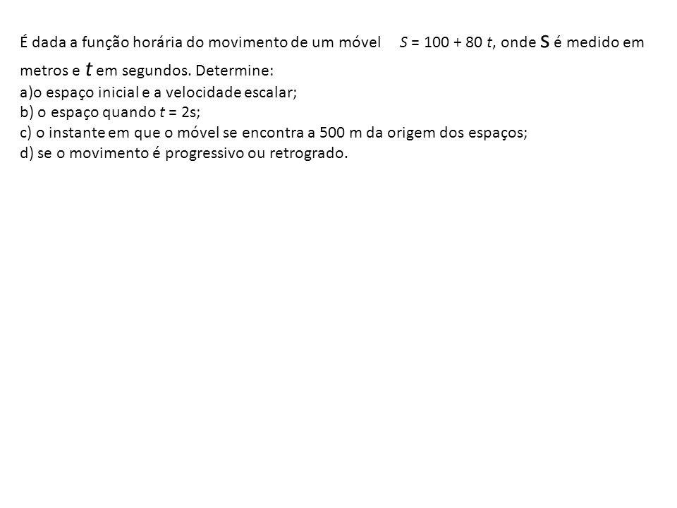 Exemplos Um ponto material movimenta-se sobre uma trajetória retilínea segundo a função horária S = 10 + 2t (no SI) a)Sua posição inicial b)Sua velocidade c)Sua posição no instante 3 s d)O espaço percorrido no fim de 6 s e)O instante em que o ponto passa pela posição 36 m http://www.educacaoadventista.org.br/blog/Unasphisica