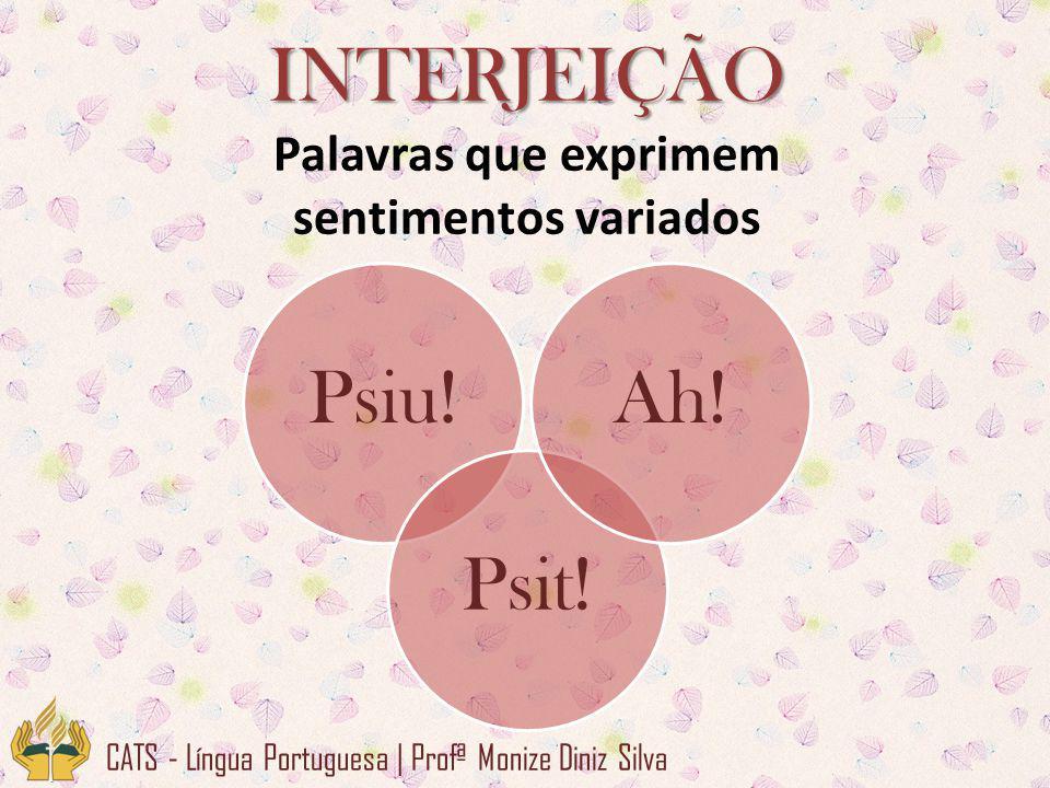 INTERJEIÇÃO Palavras que exprimem sentimentos variados CATS - Língua Portuguesa | Profª Monize Diniz Silva Psiu!Psit!Ah!