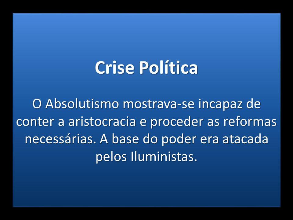 Crise Política O Absolutismo mostrava-se incapaz de conter a aristocracia e proceder as reformas necessárias. A base do poder era atacada pelos Ilumin
