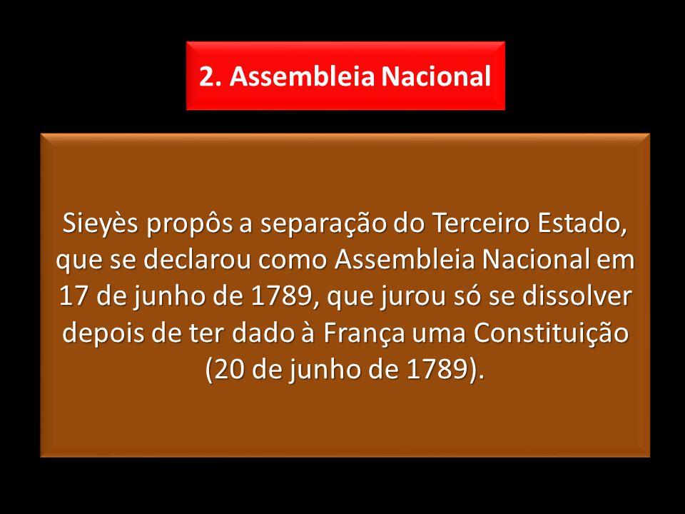 Sieyès propôs a separação do Terceiro Estado, que se declarou como Assembleia Nacional em 17 de junho de 1789, que jurou só se dissolver depois de ter