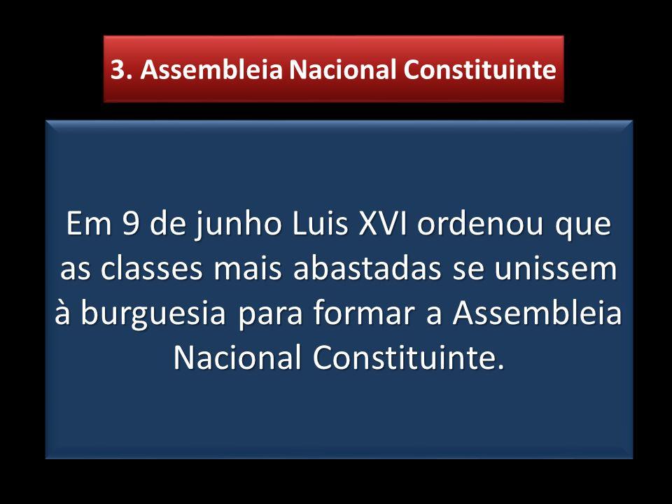 3. Assembleia Nacional Constituinte Em 9 de junho Luis XVI ordenou que as classes mais abastadas se unissem à burguesia para formar a Assembleia Nacio