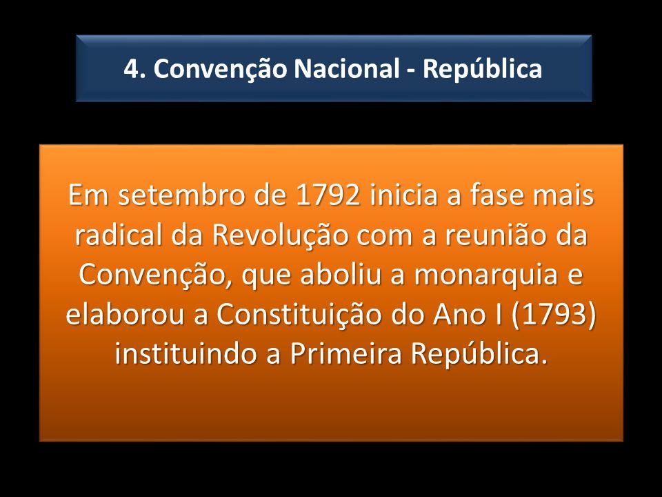 4. Convenção Nacional - República Em setembro de 1792 inicia a fase mais radical da Revolução com a reunião da Convenção, que aboliu a monarquia e ela
