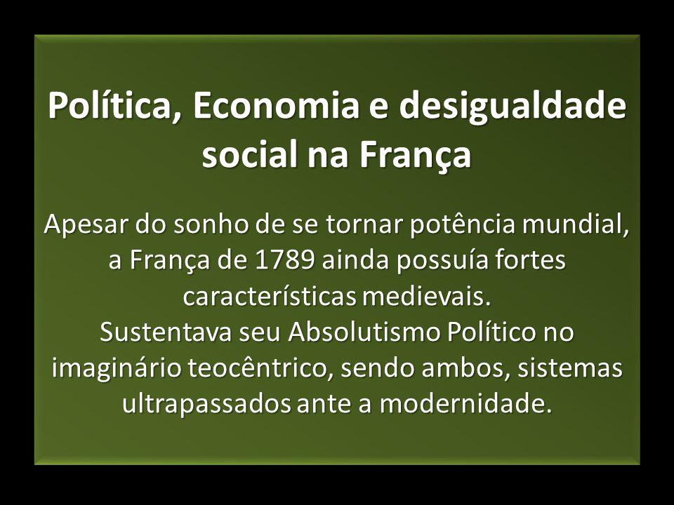 Política, Economia e desigualdade social na França Apesar do sonho de se tornar potência mundial, a França de 1789 ainda possuía fortes característica
