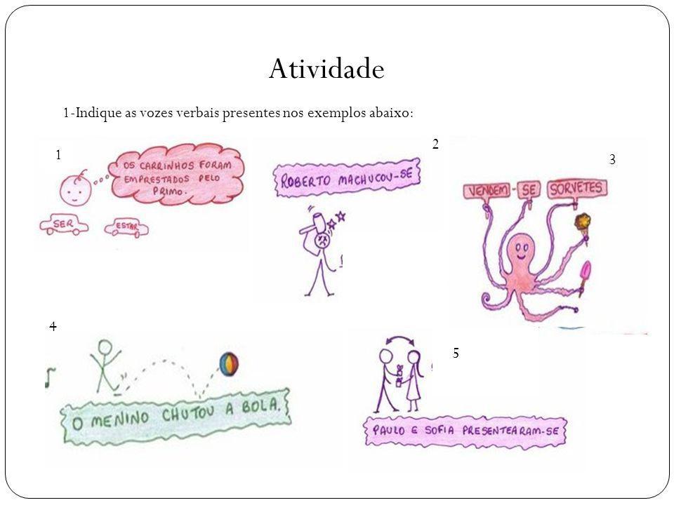 Atividade 1-Indique as vozes verbais presentes nos exemplos abaixo: 1 1 1 2 3 4 5
