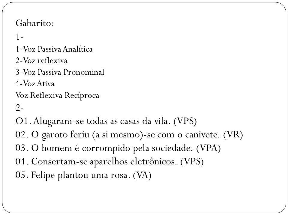 Gabarito: 1- 1-Voz Passiva Analítica 2-Voz reflexiva 3-Voz Passiva Pronominal 4-Voz Ativa Voz Reflexiva Recíproca 2- O1. Alugaram-se todas as casas da