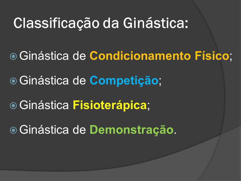 Classificação da Ginástica: Ginástica de Condicionamento Físico; Ginástica de Competição; Ginástica Fisioterápica; Ginástica de Demonstração.
