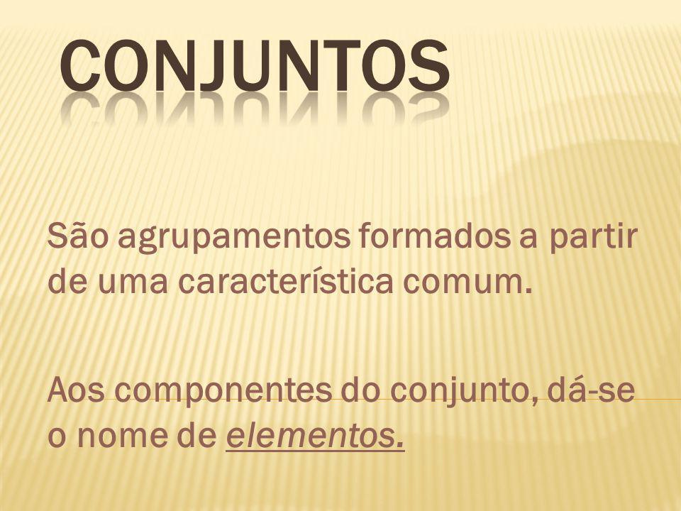 São agrupamentos formados a partir de uma característica comum. Aos componentes do conjunto, dá-se o nome de elementos.