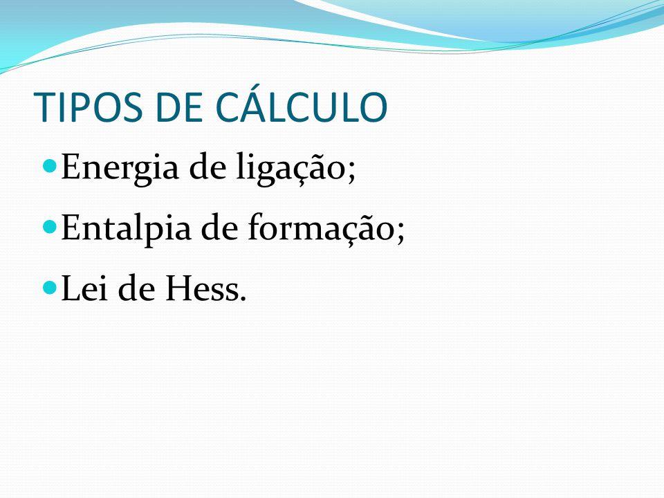 TIPOS DE CÁLCULO Energia de ligação; Entalpia de formação; Lei de Hess.