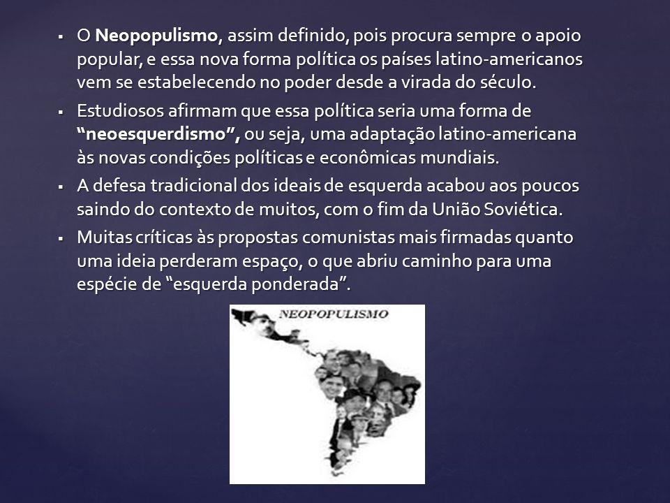 O Neopopulismo, assim definido, pois procura sempre o apoio popular, e essa nova forma política os países latino-americanos vem se estabelecendo no po