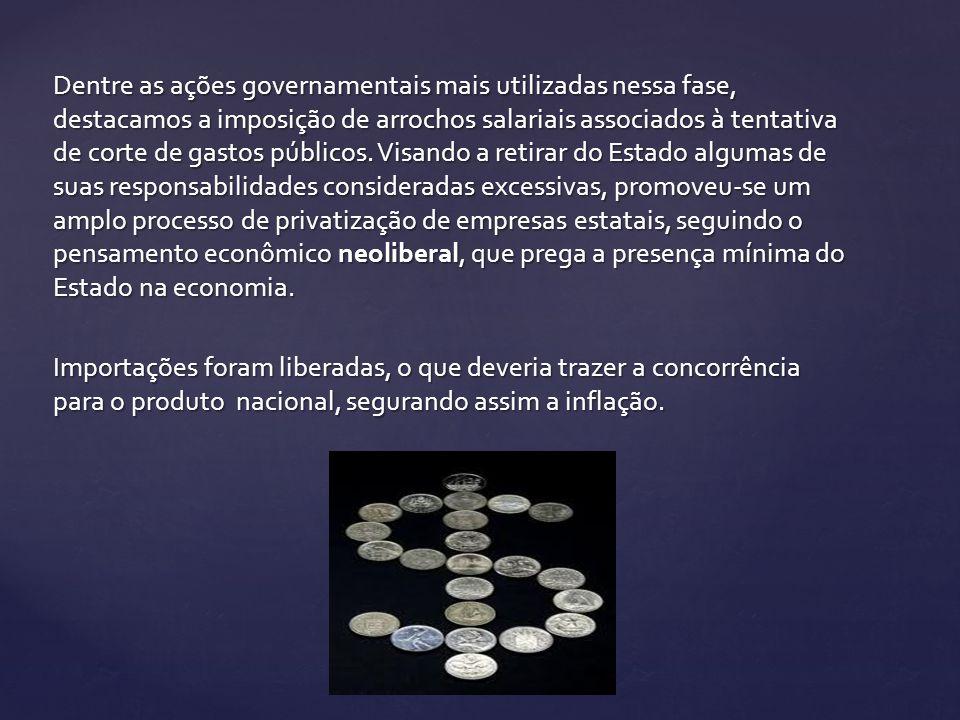 Dentre as ações governamentais mais utilizadas nessa fase, destacamos a imposição de arrochos salariais associados à tentativa de corte de gastos públ