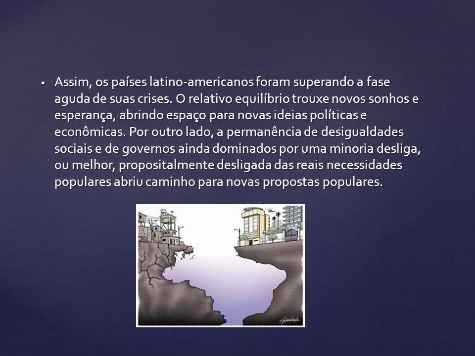Assim, os países latino-americanos foram superando a fase aguda de suas crises. O relativo equilíbrio trouxe novos sonhos e esperança, abrindo espaço