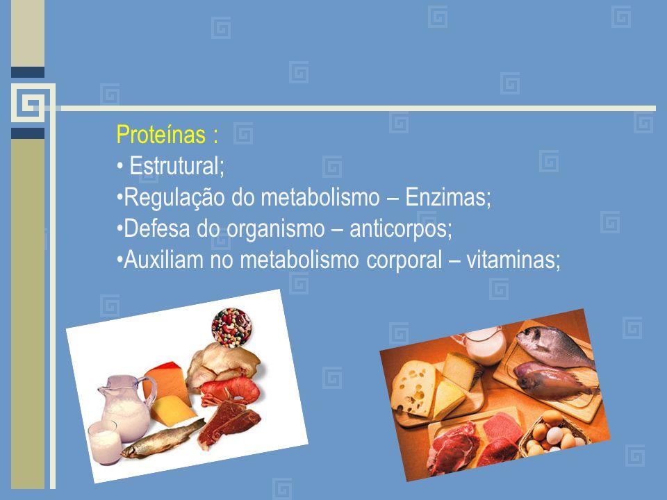 Proteínas : Estrutural; Regulação do metabolismo – Enzimas; Defesa do organismo – anticorpos; Auxiliam no metabolismo corporal – vitaminas;