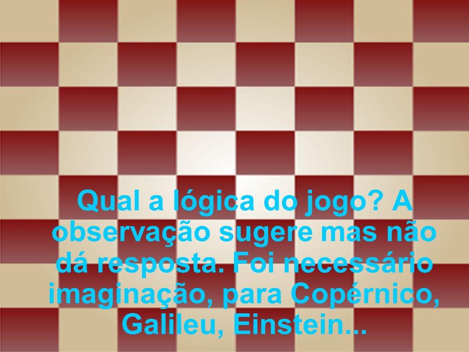 Qual a lógica do jogo? A observação sugere mas não dá resposta. Foi necessário imaginação, para Copérnico, Galileu, Einstein...
