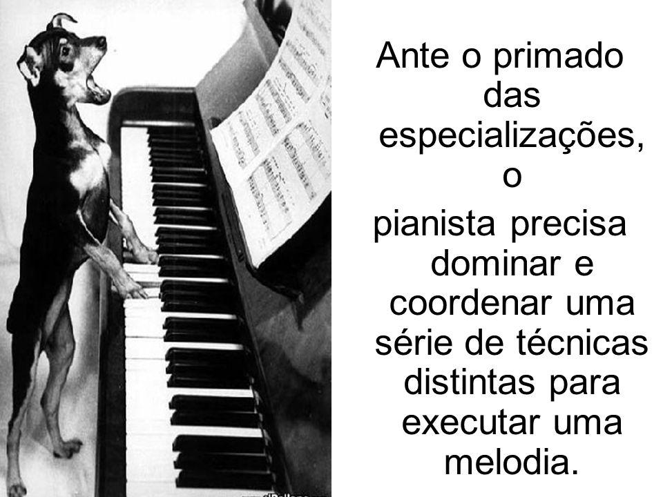 Ante o primado das especializações, o pianista precisa dominar e coordenar uma série de técnicas distintas para executar uma melodia.