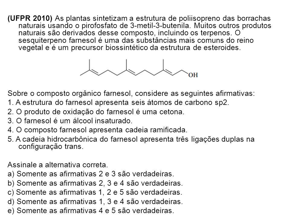 (UFPR 2010) As plantas sintetizam a estrutura de poliisopreno das borrachas naturais usando o pirofosfato de 3-metil-3-butenila. Muitos outros produto