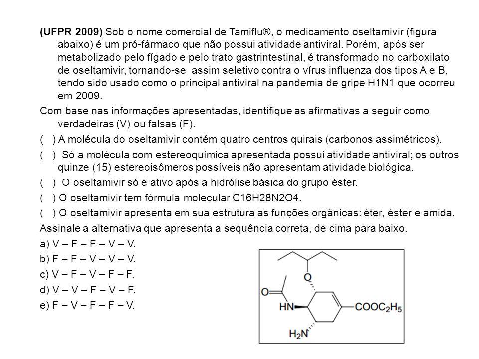 (UFPR 2009) Sob o nome comercial de Tamiflu®, o medicamento oseltamivir (figura abaixo) é um pró-fármaco que não possui atividade antiviral. Porém, ap