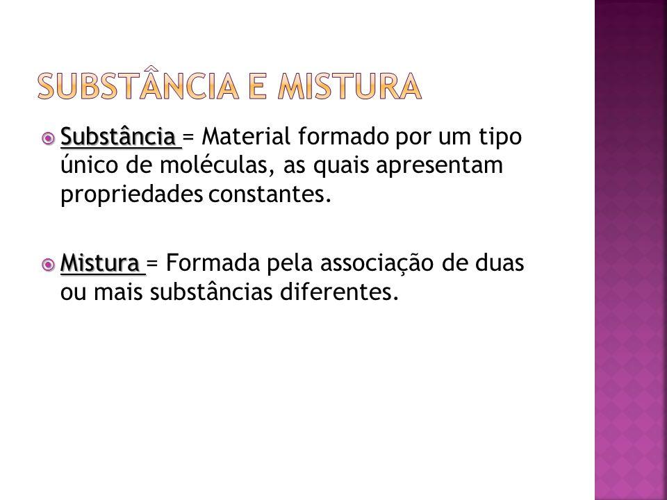 Substância Substância = Material formado por um tipo único de moléculas, as quais apresentam propriedades constantes. Mistura Mistura = Formada pela a