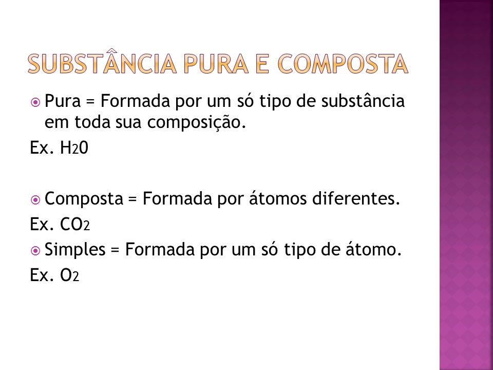 Pura = Formada por um só tipo de substância em toda sua composição. Ex. H 2 0 Composta = Formada por átomos diferentes. Ex. CO 2 Simples = Formada por