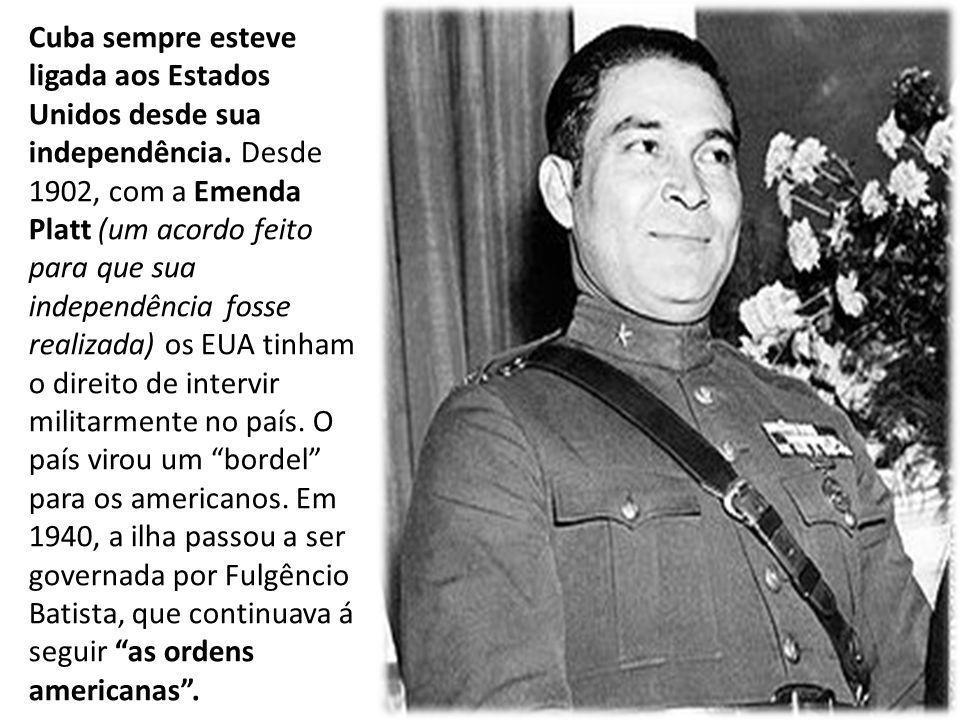 Cuba sempre esteve ligada aos Estados Unidos desde sua independência. Desde 1902, com a Emenda Platt (um acordo feito para que sua independência fosse