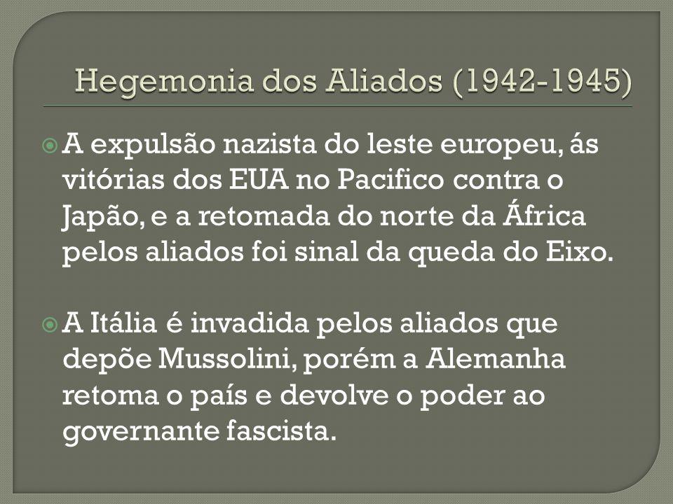 A expulsão nazista do leste europeu, ás vitórias dos EUA no Pacifico contra o Japão, e a retomada do norte da África pelos aliados foi sinal da queda