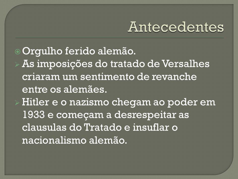 Orgulho ferido alemão. As imposições do tratado de Versalhes criaram um sentimento de revanche entre os alemães. Hitler e o nazismo chegam ao poder em