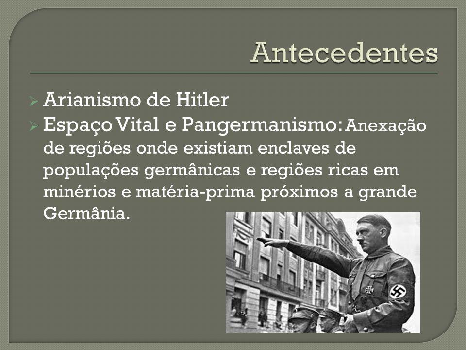 Arianismo de Hitler Espaço Vital e Pangermanismo: Anexação de regiões onde existiam enclaves de populações germânicas e regiões ricas em minérios e ma