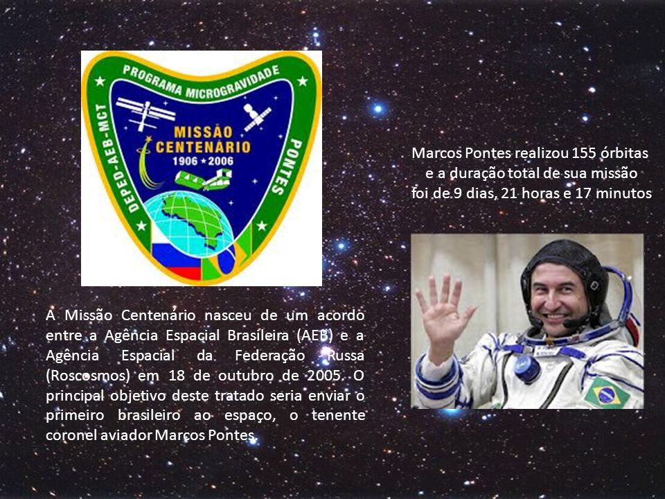 Marcos Pontes realizou 155 órbitas e a duração total de sua missão foi de 9 dias, 21 horas e 17 minutos.