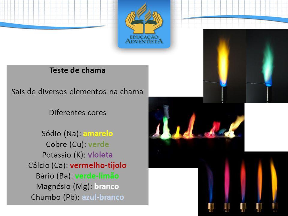 Teste de chama Sais de diversos elementos na chama Diferentes cores Sódio (Na): amarelo Cobre (Cu): verde Potássio (K): violeta Cálcio (Ca): vermelho-