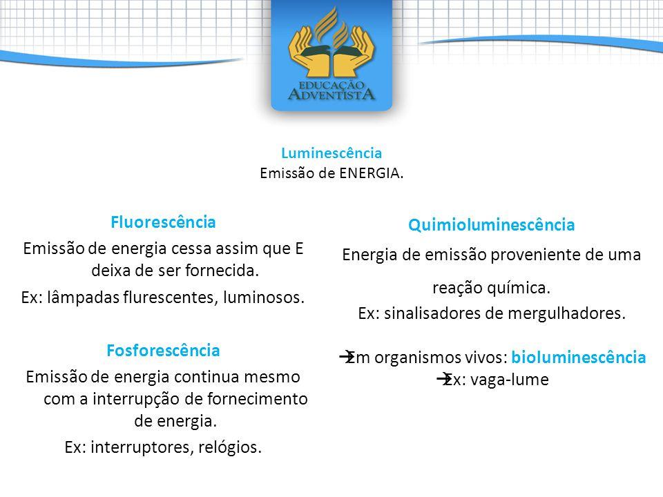 Fluorescência Emissão de energia cessa assim que E deixa de ser fornecida. Ex: lâmpadas flurescentes, luminosos. Fosforescência Emissão de energia con