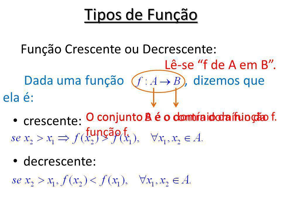 Tipos de Função Dada uma função, crescente: decrescente: Função Crescente ou Decrescente: Lê-se f de A em B. O conjunto A é o domínio da função f. O c