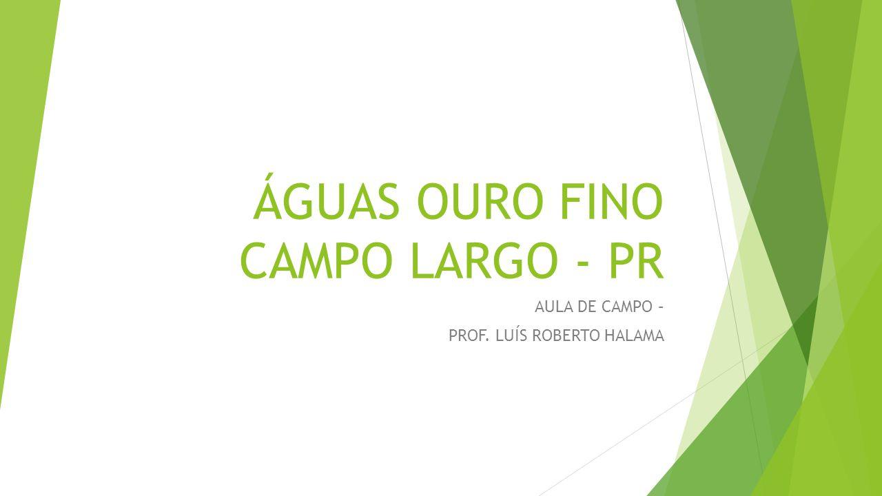 ÁGUAS OURO FINO CAMPO LARGO - PR AULA DE CAMPO – PROF. LUÍS ROBERTO HALAMA